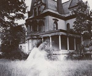 black and white, ghost, and house image