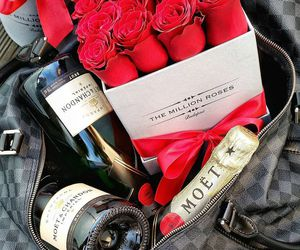 rose, red, and champagne image