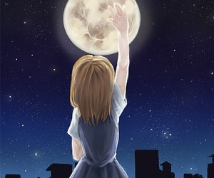 anime girl, moon, and night image