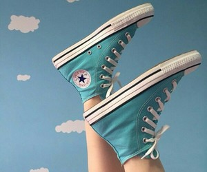 all star, chuck taylor, and clouds image