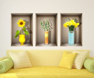 flowers, 3d illusion, and wall decal image