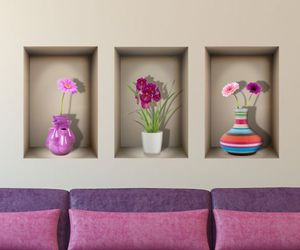 flowers, vases, and wall decal image