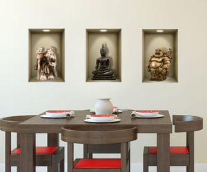 buddah, wall decal, and 3d illusion image