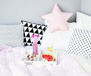 bedroom, pillows, and white image