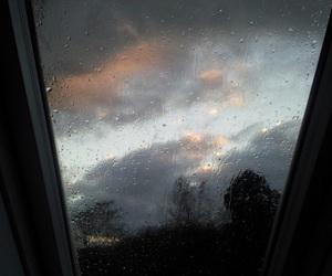 rain, window, and sky image