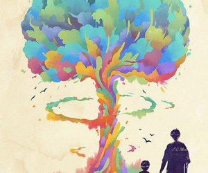 atomic bomb, child, and colourfull image