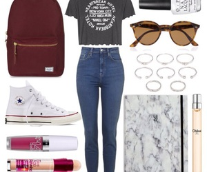 backpack, fashion, and Maybelline image