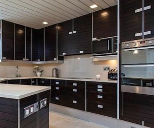 black and white, kitchen, and mansion image