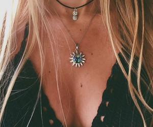 necklace, summer, and hair image
