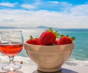 strawberry, summer, and sea image