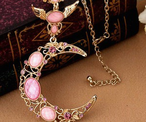 necklace, moon, and pink image