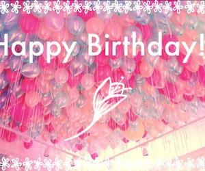 balloons, flowers, and happy birthday image