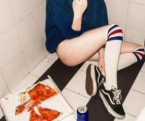 pizza, girl, and vans image