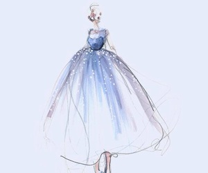 art, blue, and dress image