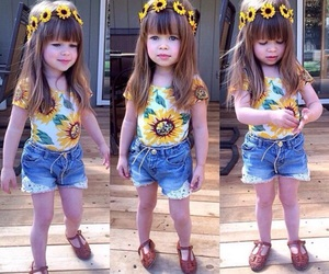 girl, baby, and sunflower image