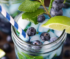 lime, blueberry, and drink image