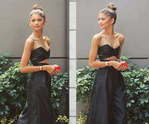 zendaya, black, and outfit image