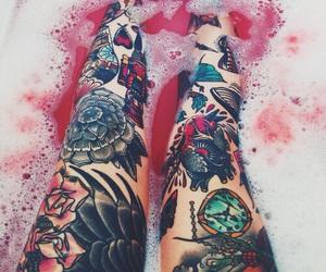 tattoo, legs, and bath image
