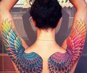 tattoo, wings, and rainbow image