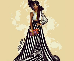 black woman and fashion illustration image