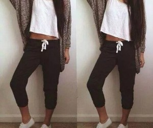 clothes, long hair, and style image