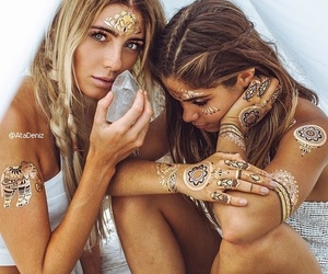 Tattoos, girl outfit, and boho girls image
