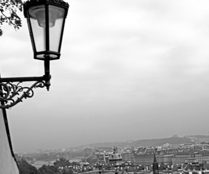 black and white and prague image
