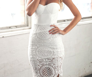 white, dress, and fashion image