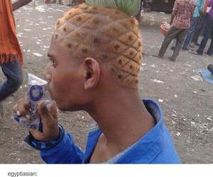 funny, hair, and pineapple image