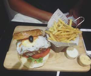 burger, chips, and delicious image