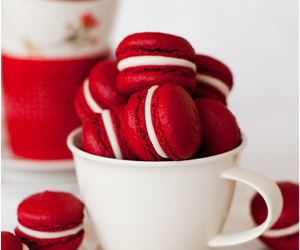 macaroons, food, and red image