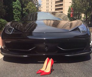 car, heels, and red image