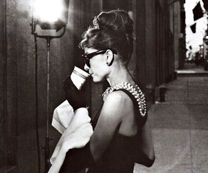 audrey, black and white, and Breakfast at Tiffany's image