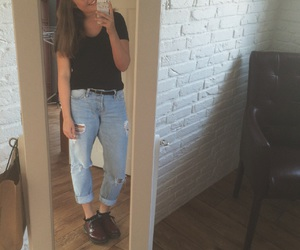 boyfriend jeans, dr martens, and style image