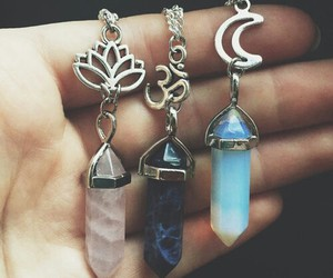 necklace, crystal, and grunge image