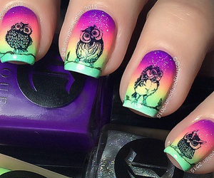 nails, owl, and colours image