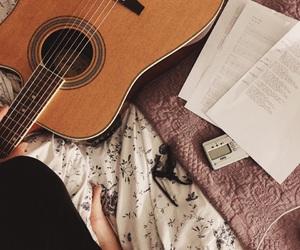 guitar, music, and writing image
