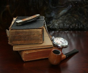 books, vintage, and watch image