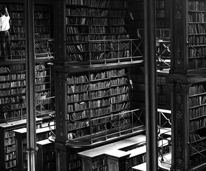 50s, books, and grayscale image