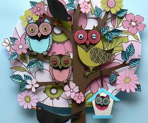 owl, tree, and bird image