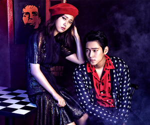 beret, couple, and red image