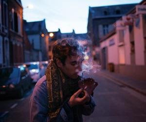 boy, smoking, and street image