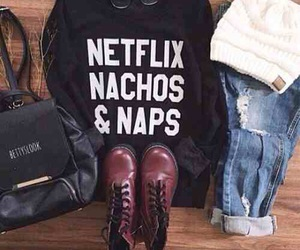 outfit, fashion, and netflix image