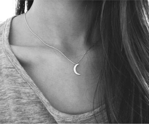 black and white, girl, and moon image