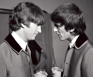 black and white, george harrison, and john lennon image