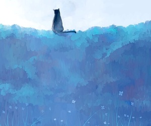 background, black cat, and blue image