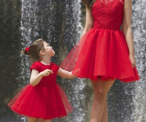 red, dress, and baby image