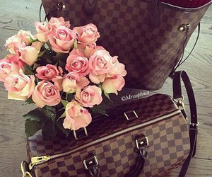 bag, flowers, and rose image