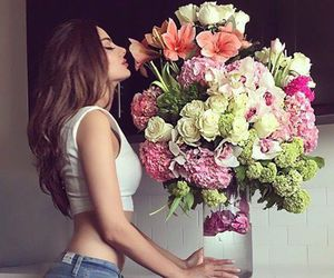 girl, flowers, and luxury image