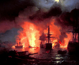 art, fire, and sea image